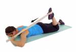 Quad stretch, a stretch that stops swelling pain from workouts